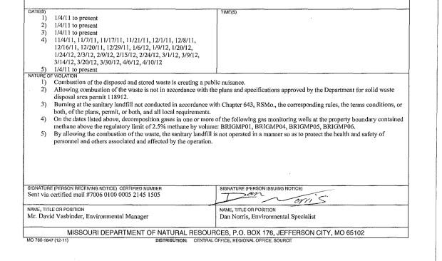 Notice of Violation, July 23, 2012